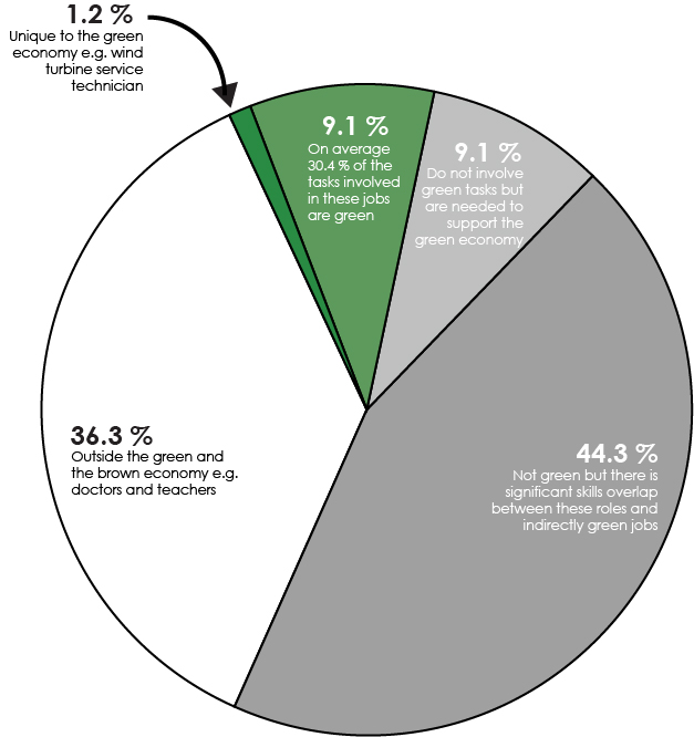 pie chart of proportion of different types of jobs in the US including green jobs