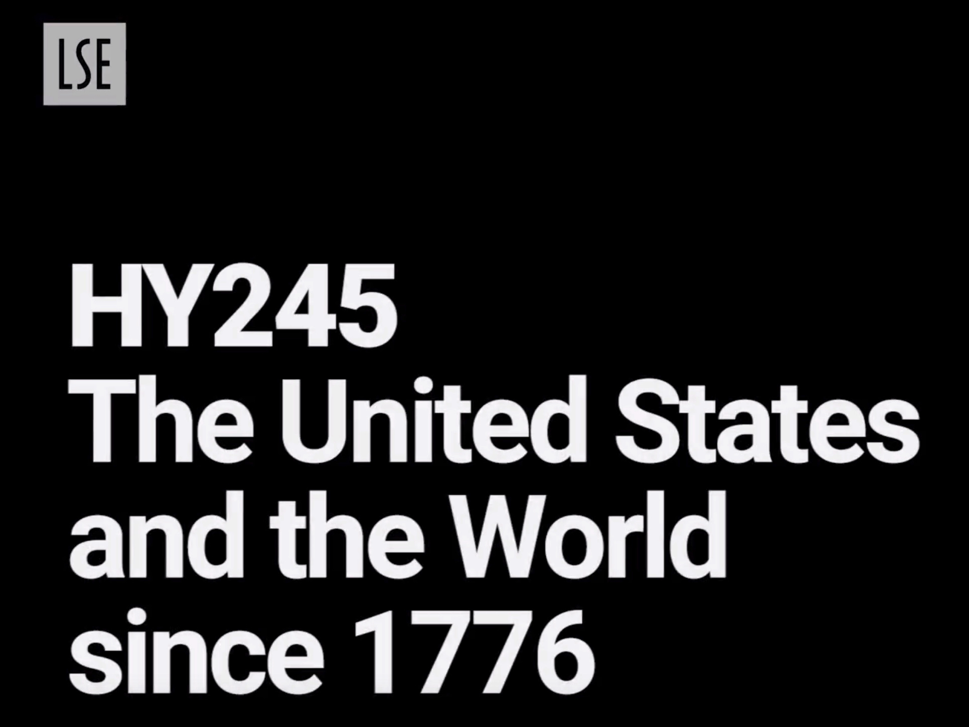 HY245: United States and the World since 1776