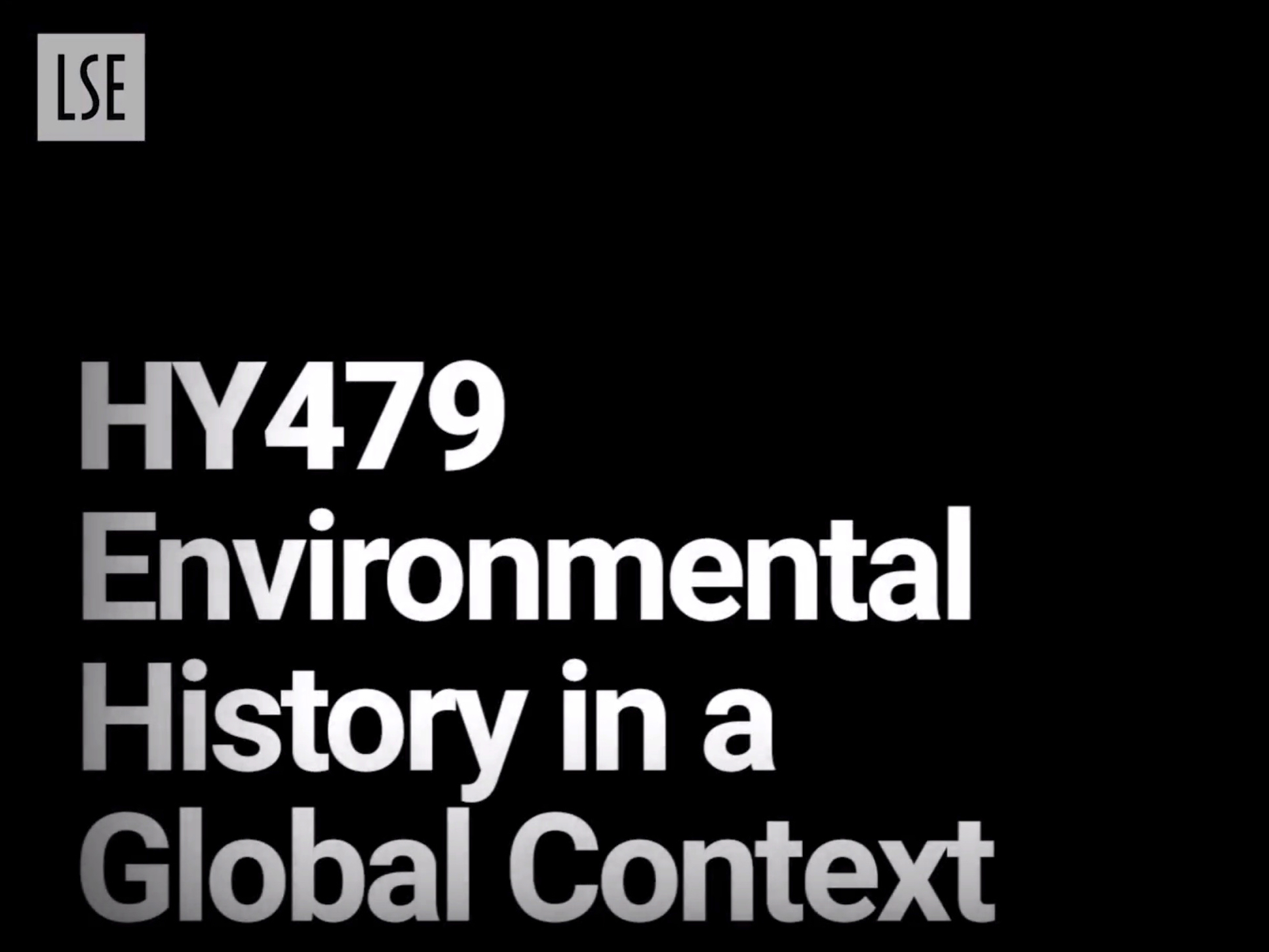 HY479: Environmental History in a Global Context
