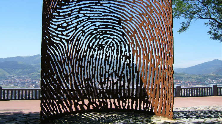 A sculpture resembling a large fingerprint