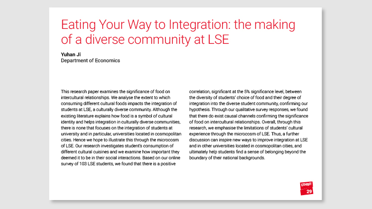Eating Your Way to Integration: the making of a diverse community at LSE