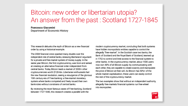 Bitcoin: new order or libertarian utopia? An answer from the past: Scotland 1727-1845
