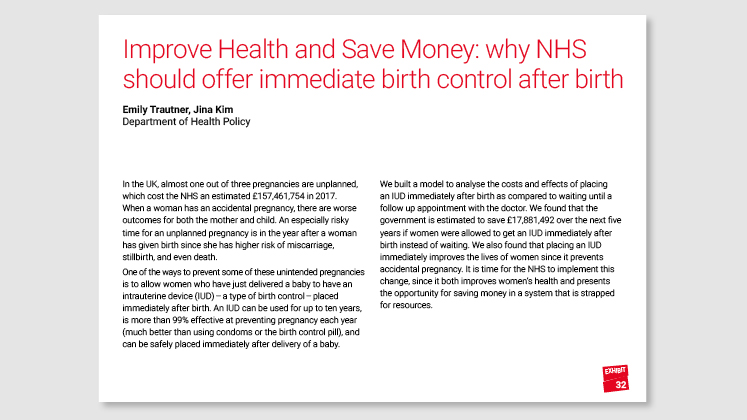Improve Health and Save Money: why NHS should offer immediate birth control after birth