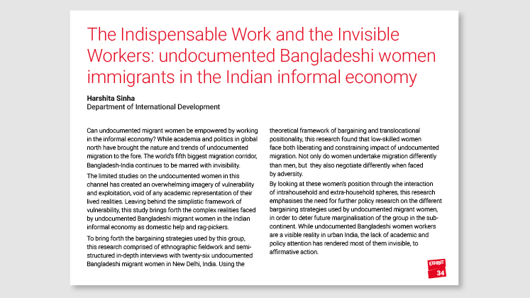 The Indispensable Work and the Invisible Workers: undocumented Bangladeshi women immigrants in the Indian informal economy