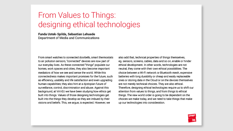 From Values to Things: designing ethical technologies