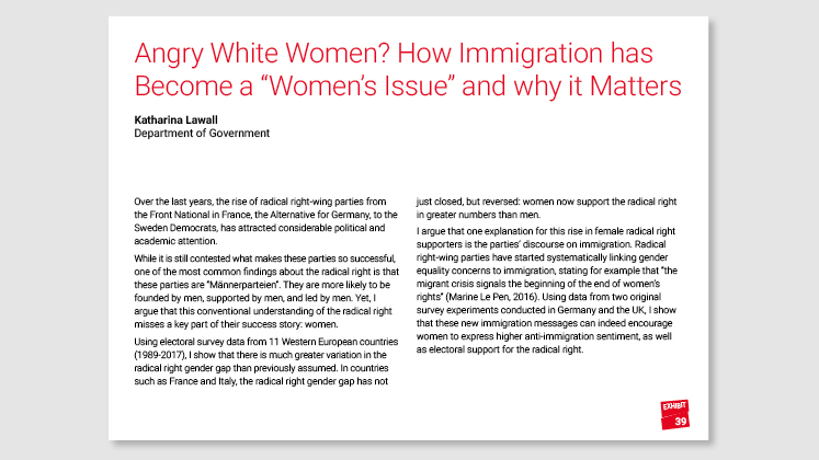 "Angry White Women? How Immigration has Become a ""Women's Issue"" and why it Matters"