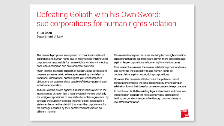 Defeating Goliath with his Own Sword: sue corporations for human rights violation