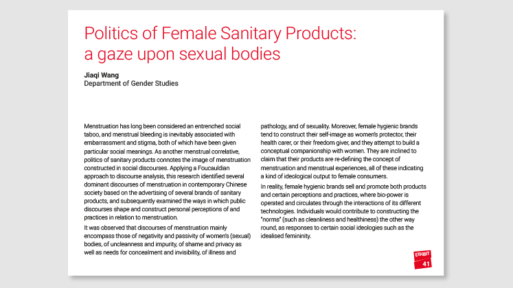 Politics of Female Sanitary Products: a gaze upon sexual bodies