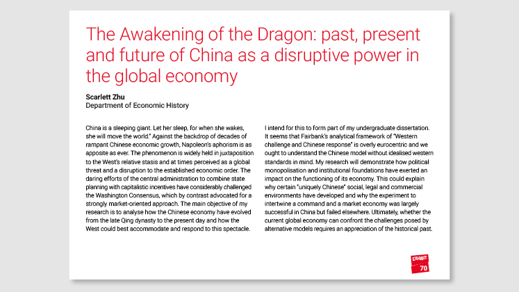 The Awakening of the Dragon: past, present and future of China as a disruptive power in the global economy