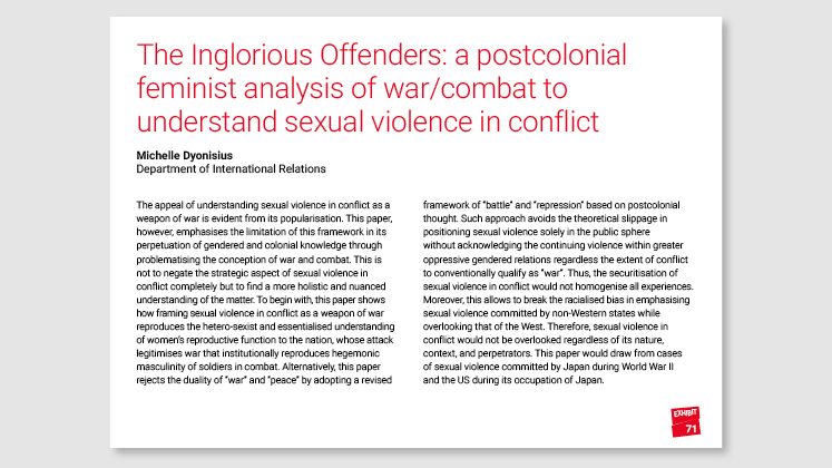 The Inglorious Offenders: a postcolonial feminist analysis of war/combat to understand sexual violence in conflict