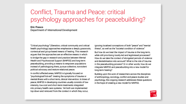 Conflict, Trauma and Peace: critical psychology approaches for peacebuilding?