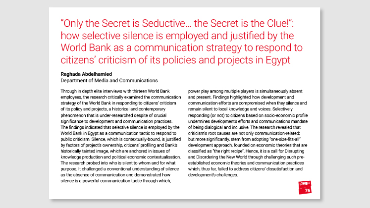 """Only the Secret is Seductive…the Secret is the Clue!"": how selective silence is employed and justified by The World Bank as a communication strategy to respond to citizens' criticism of its policies and projects in Egypt"