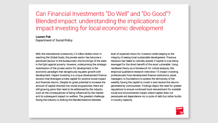 "Can Financial Investments ""Do Well"" and ""Do Good""? Blended Impact: understanding the implications of impact investing for local economic development"