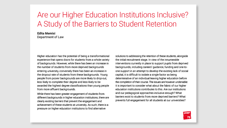 Are our Higher Education Institutions Inclusive? A Study of the Barriers to Student Retention