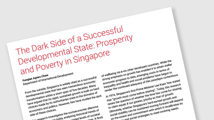 The Dark Side of a Successful Developmental State: Prosperity and Poverty in Singapore
