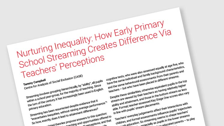 Nurturing Inequality: How Early Primary School Streaming Creates Difference Via Teachers' Perceptions