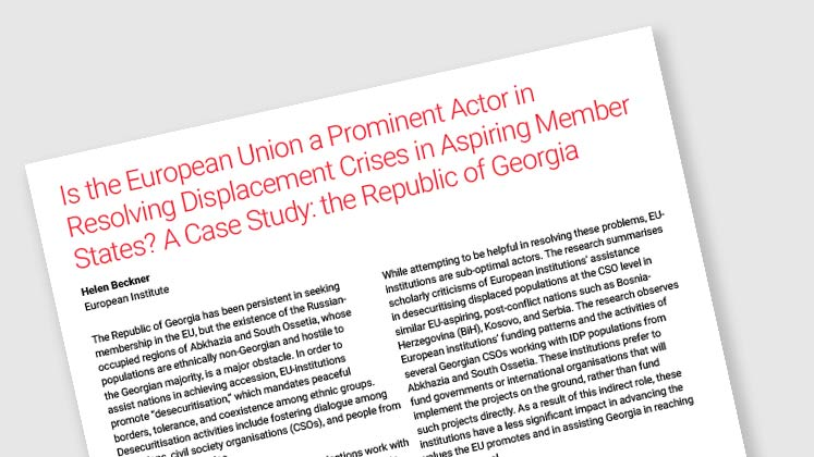 Is the European Union a Prominent Actor in Resolving Displacement Crises in Aspiring Member States? A Case Study: the Republic of Georgia
