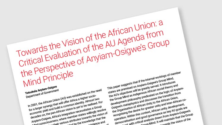Towards the Vision of the African Union: a Critical Evaluation of the AU Agenda from the Perspective of Anyiam-Osigwe's Group Mind Principle