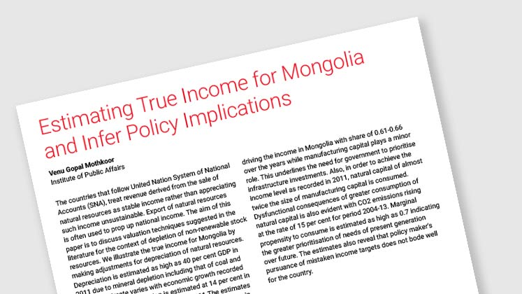Estimating True Income for Mongolia and Infer Policy Implications