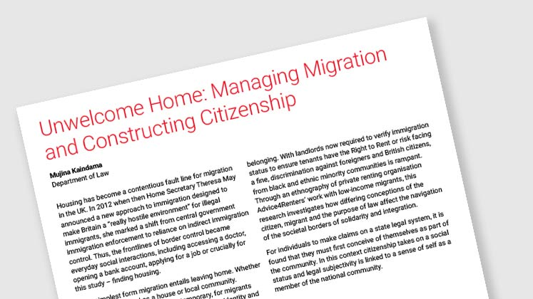 Unwelcome Home: Managing Migration and Constructing Citizenship