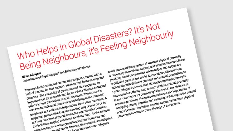 Who Helps in Global Disasters? It's Not Being Neighbours, it's Feeling Neighbourly