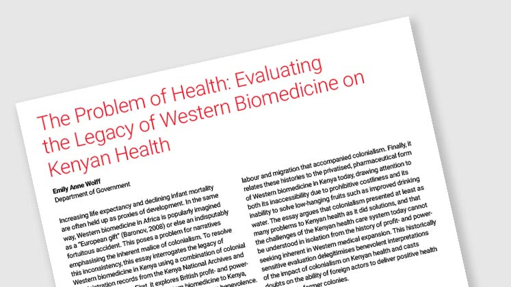 The Problem of Health: Evaluating the Legacy of Western Biomedicine on Kenyan Health
