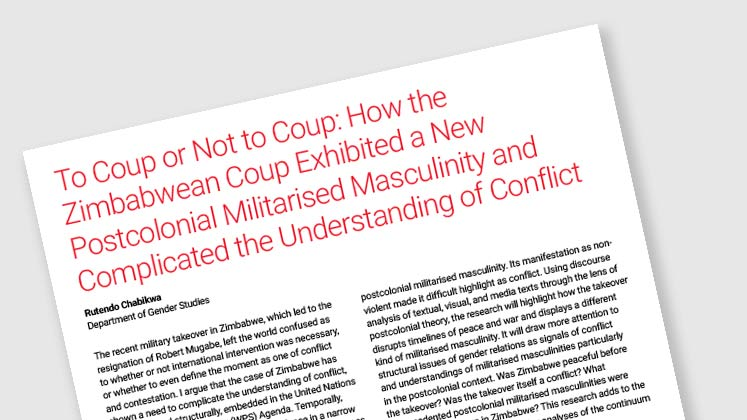 To Coup or Not to Coup: How the Zimbabwean Coup Exhibited a New Postcolonial Militarised Masculinity and Complicated the Understanding of Conflict