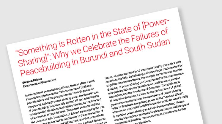 """Something is Rotten in the State of [Power-Sharing]"": Why We Celebrate the Failures Of Peacebuilding in Burundi and South Sudan"