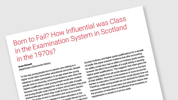Born to Fail? How Influential Was Class in the Examination System in Scotland in the 1970s?