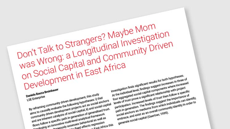 Don't Talk to Strangers? Maybe Mom Was Wrong: a Longitudinal Investigation on Social Capital and Community Driven Development in East Africa