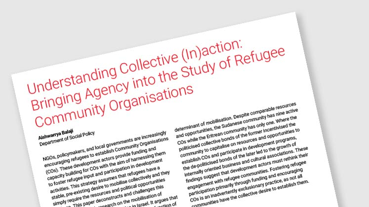 Understanding Collective (In)action: Bringing Agency into the Study of Refugee Community Organisations