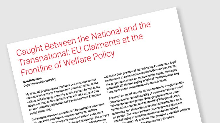 Caught Between the National and the Transnational: EU Claimants at the Frontline Of Welfare Policy