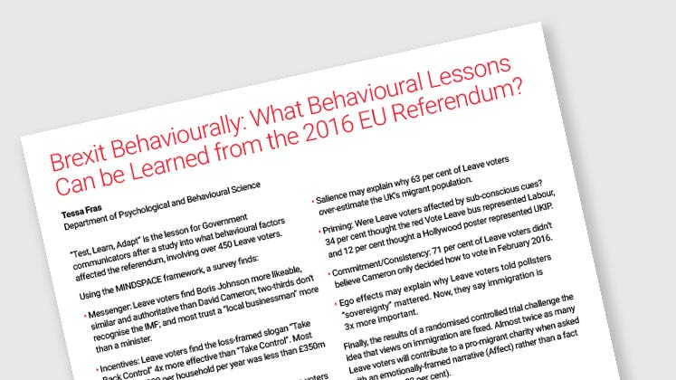 Brexit Behaviourally: What Behavioural Lessons Can Be Learned From The 2016 EU Referendum?
