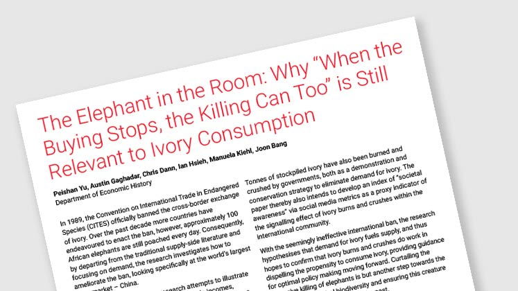 "The Elephant in the Room: Why ""When The Buying Stops, The Killing Can Too"" Is Still Relevant To Ivory Consumption"