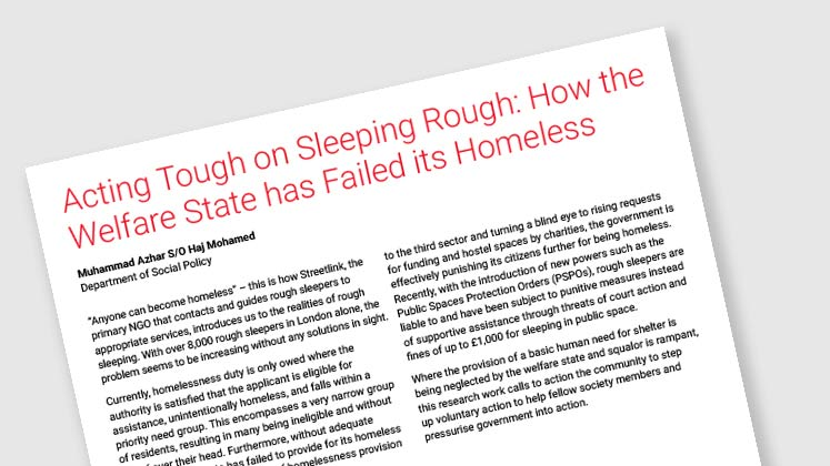 Acting Tough on Sleeping Rough: How the Welfare State has Failed its Homeless
