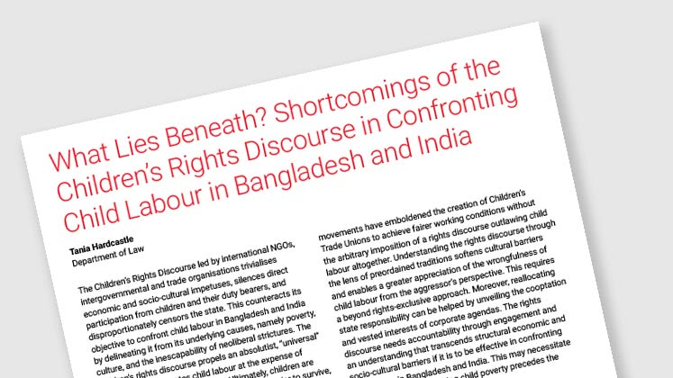 What Lies Beneath? Shortcomings of the Children's Rights Discourse in Confronting Child Labour in Bangladesh and India