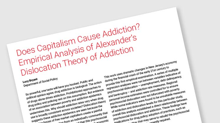"""Does Capitalism Cause Addiction? Empirical Analysis of Alexander's Dislocation Theory of Addiction """