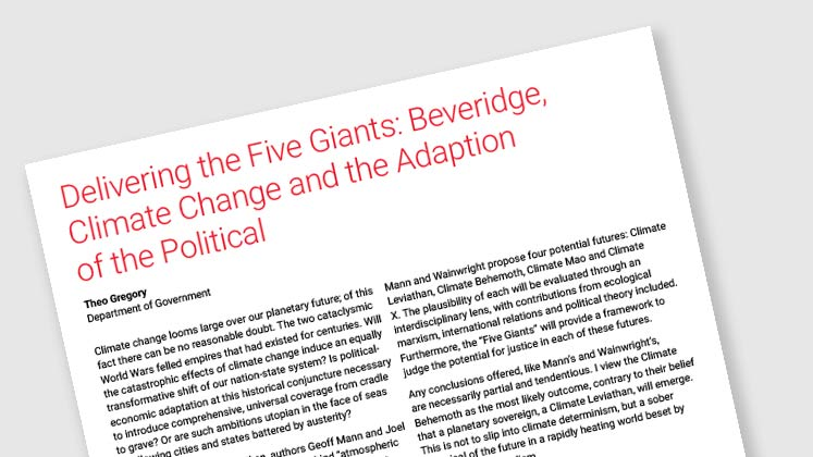 Delivering the Five Giants: Beveridge, Climate Change And The Adaption Of The Political