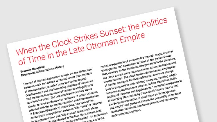 When The Clock Strikes Sunset: The Politics of Time in the Late Ottoman Empire
