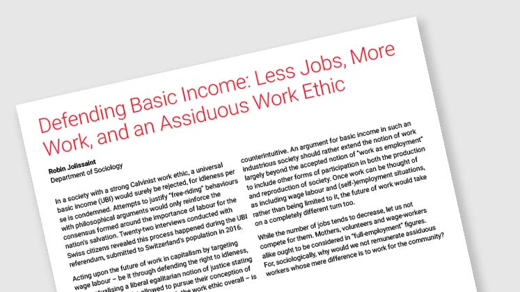 Defending Basic Income: Less Jobs, More Work, and An Assiduous Work Ethic