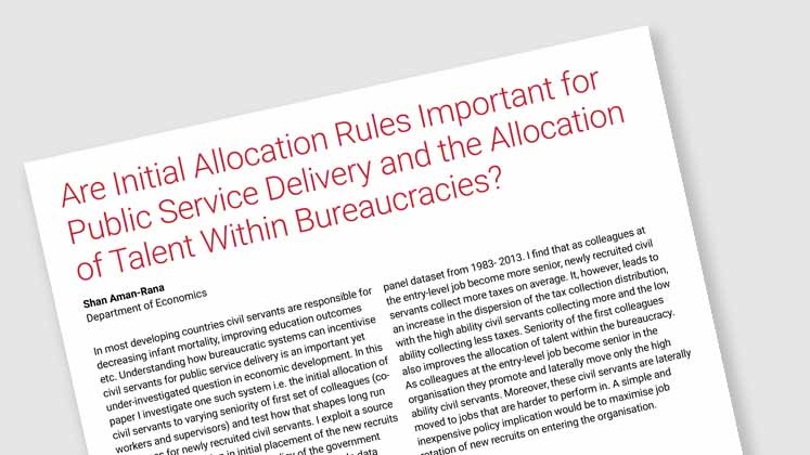 Are Initial Allocation Rules Important for Public Service Delivery and the Allocation of Talent Within Bureaucracies