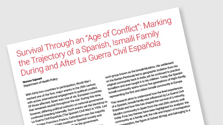 "Survival Through an ""Age of Conflict"": Marking the Trajectory of a Spanish, Ismaili Family During and After La Guerra Civil Española"