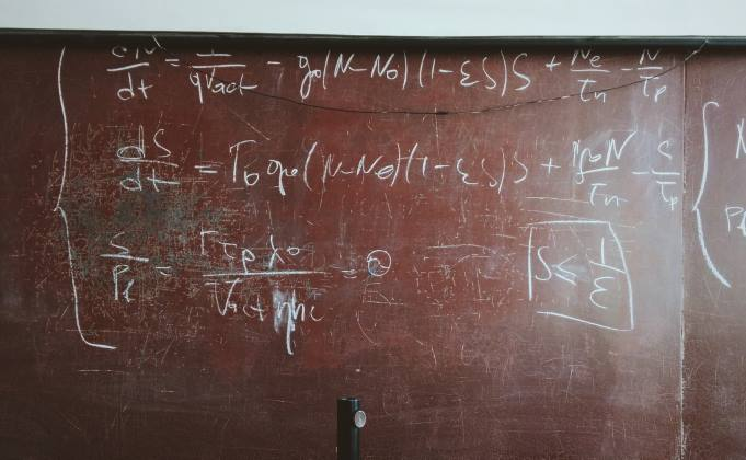 Chalkboard with mathematical equations
