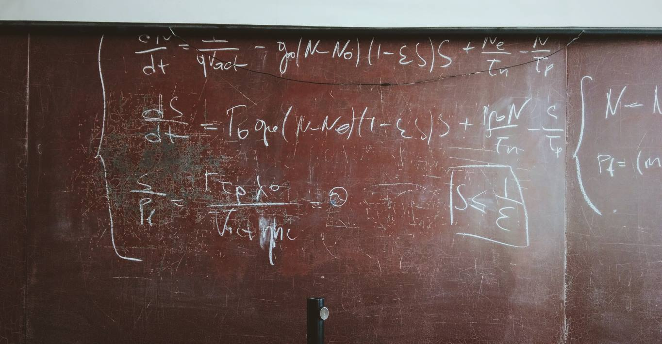 Chalk board with mathematical equations