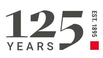 125 logo. 125 years, established 1895.