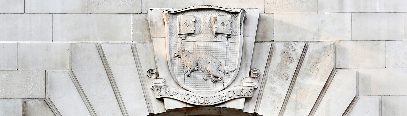 "The LSE coat of arms with the mascot, a beaver and the motto (translated from Latin) ""To know the causes of things"""