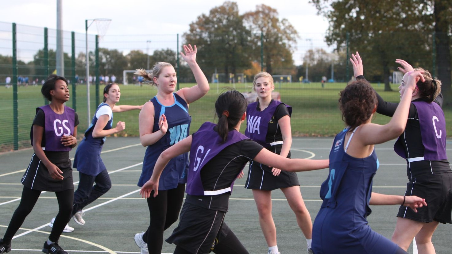 LSE Netball team during a match at the LSE Sportsground in New Malden, Surrey