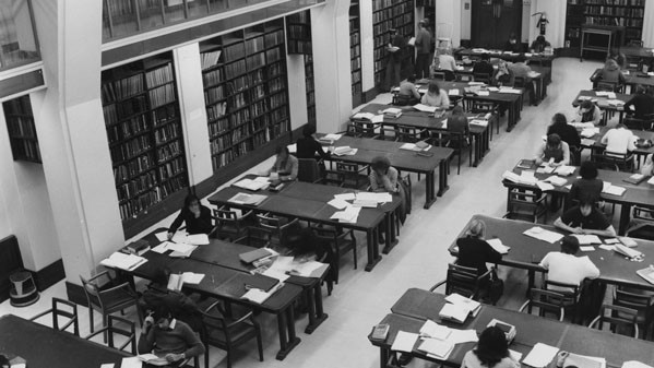 Students studying in the Economics Reading Room (Haldane Room) in 1972