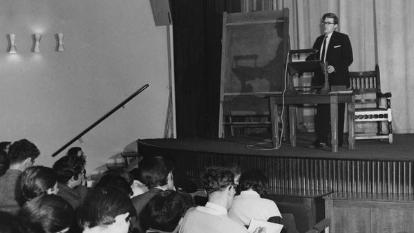 Donald Watt lecturing in the Old Theatre in 1964