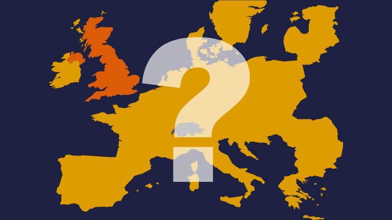 An illustration of a map of Europe with a question mark overlaid | LSE and Brexit | London School of Economics